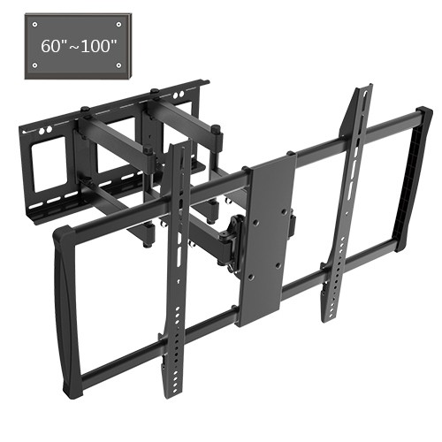Adjustable Tilting/Swiveling Wall Mount Bracket for LCD LED Plasma (Max 176 lbs, 60 – 100 inch), BLACK,