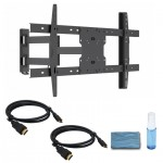 "Adjustable Tilting/Swiveling Wall Mount for 37"" – 70"" Flat Panel TVs -  w/ 2 x 6ft HDMI® Cables & Cleaning kit"