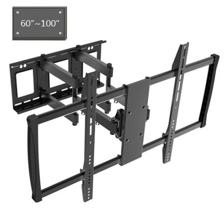 Adjustable Tilting/Swiveling Wall Mount Bracket for LCD LED Plasma (Max 176 lbs, 60 – 100 inch), BLACK,